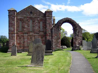 Coldingham Collegiate Church from the west and transept