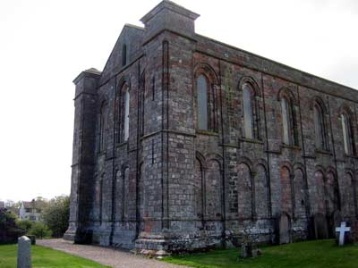 Restored north and east walls of the original priory