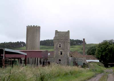 The ruins of Collairnie Castle amidst a working farm