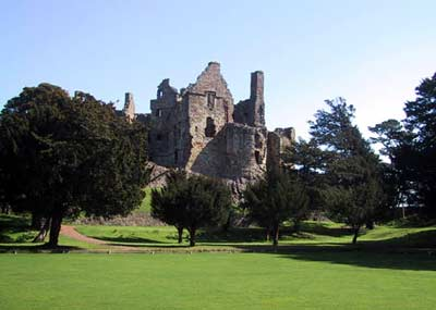 Back view of Dirleton's Castle from the gardens