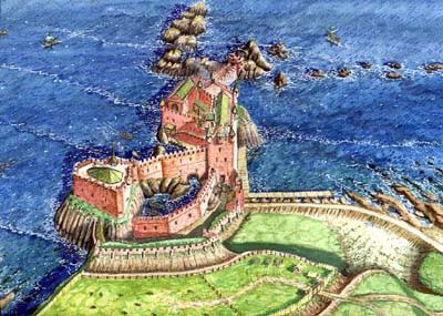 A reconstruction of Dunbar Castle by Andrew Spratt