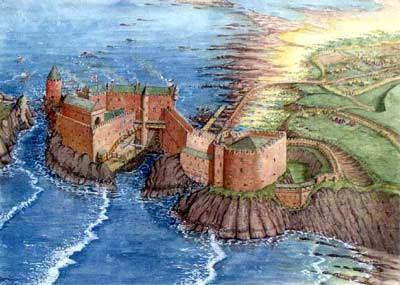 Dunbar fortress at its height before it was intentionally dismantled.