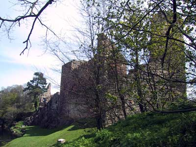 Back view and river side of Hailes Castle