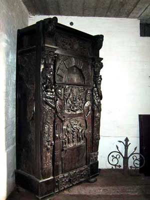 Carved wooden cupboard